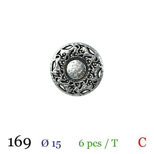 Bouton argenté métal rond motif lion à queue 15mm