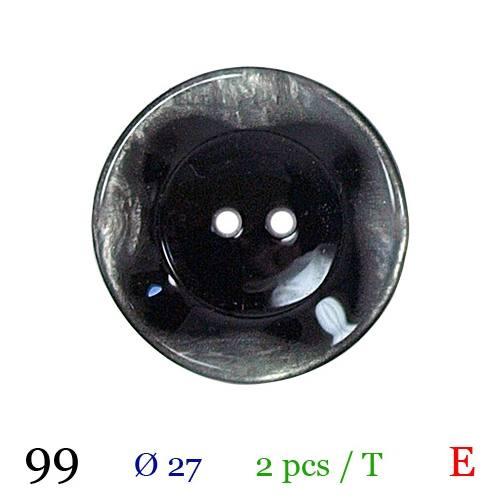 Bouton noir bord nacré rond 2 trous 27mm