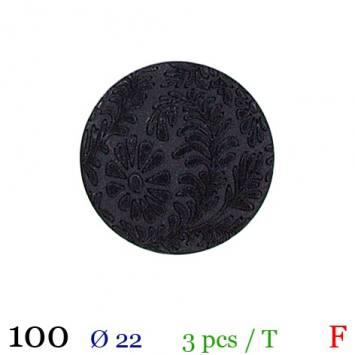 Bouton noir fleuri rond à queue 22mm