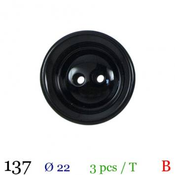 Bouton brillant noir rond 2 trous 22mm