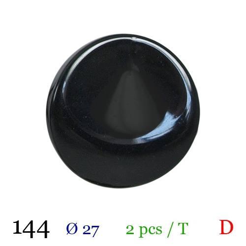 Bouton brillant noir à queue 27mm