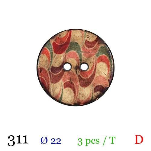 Bouton bois rond motif zig zag 2 trous 22mm
