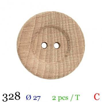 Bouton bois rayé rond 2 trous 27mm