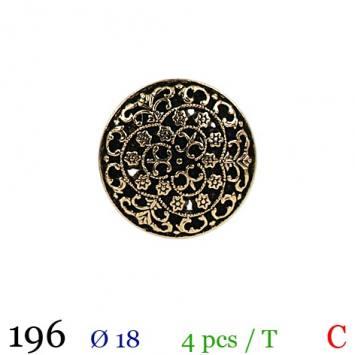 Bouton doré métal fleuri rond à queue 18mm