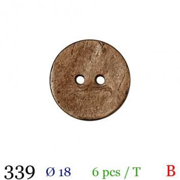 Bouton bois effet vieilli rond 2 trous 18mm