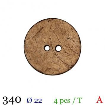Bouton bois effet vieilli rond 2 trous 22mm