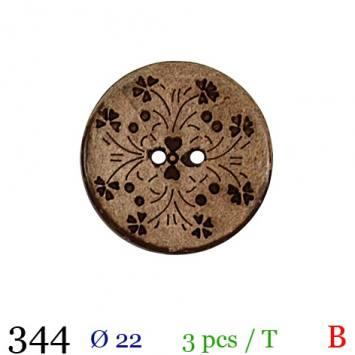 Bouton bois à fleurs rond 2 trous 22mm