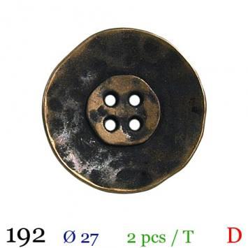 Bouton bronze métal vieilli rond 4 trous 27mm