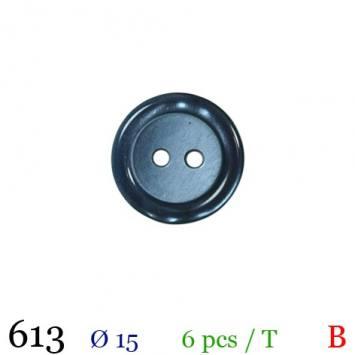 Bouton bleu marine 2 trous 15mm