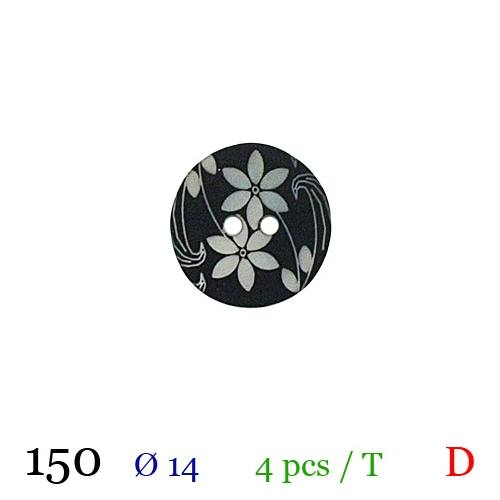 Bouton noir à fleurs rond 2 trous 15mm