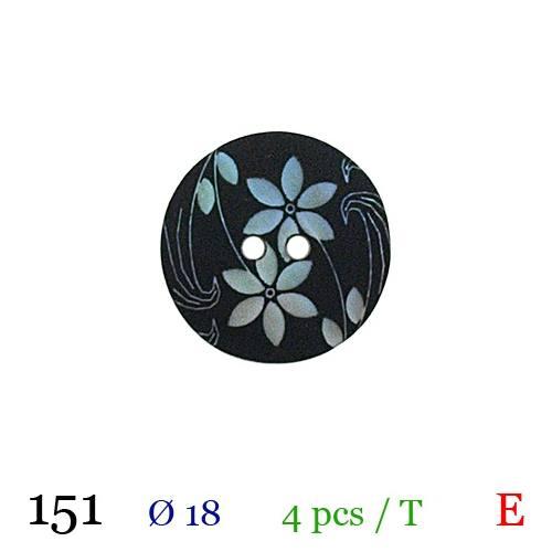 Bouton noir à fleurs rond 2 trous 18mm