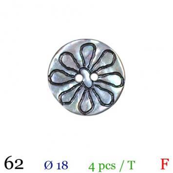 Bouton akoya naturel fleur rond 2 trous 18mm