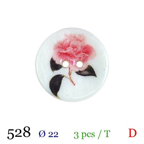 Bouton blanc nacré motif rose 2 trous 22mm