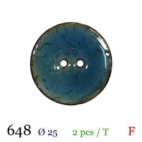 Bouton laqué bleu 2 trous 25mm