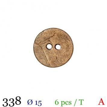Bouton bois rond 2 trous 15mm