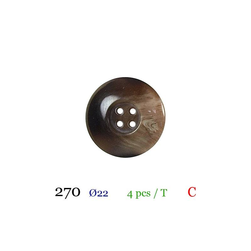 Bouton gros bord marron rond 4 trous 22mm