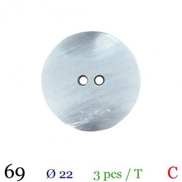 Bouton nacré gris clair rond 2 trous 22mm