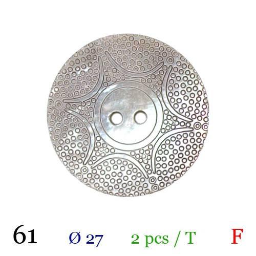 Bouton nacré motif étoile rond 2 trous 27mm