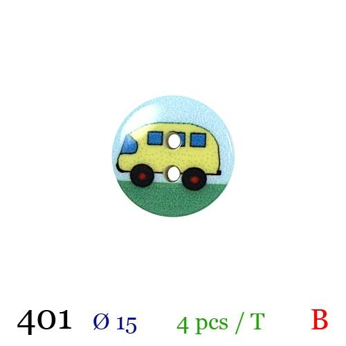 Bouton bus jaune rond 2 trous 15mm