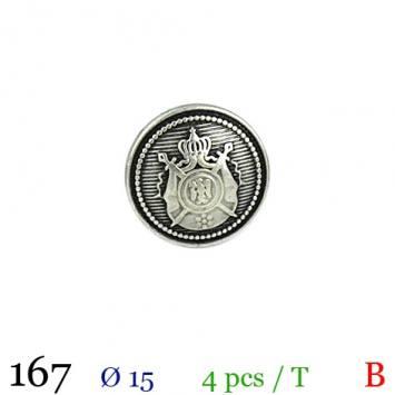 Bouton argenté métal rond motif écusson à queue 15mm