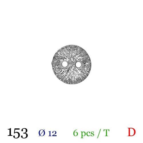 Bouton argenté métal rond 2 trous 12mm