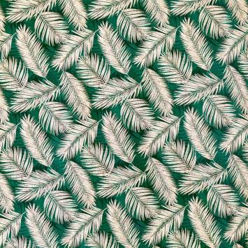 Jacquard vert et blanc motif végétation