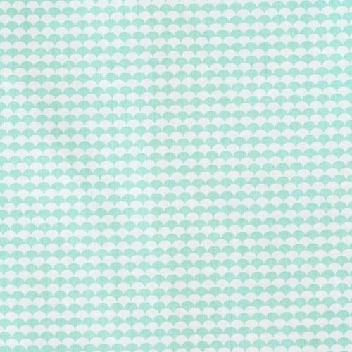 Coton vert d'eau imprimé écaille