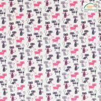 Coton écru imprimé chat gris et rose