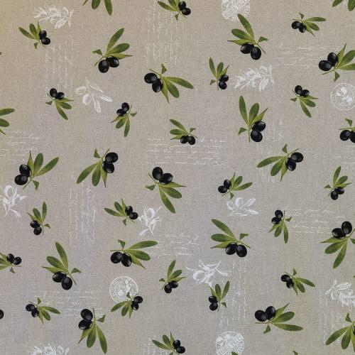 Toile polycoton aspect lin imprimé olives