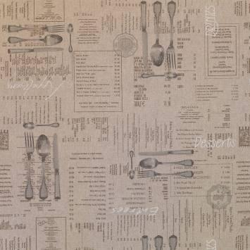 Toile polycoton aspect lin imprimé couverts anciens