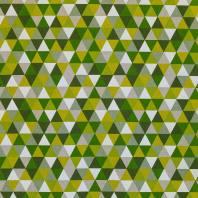 Toile polycoton aspect lin imprimé triangles verts et blancs
