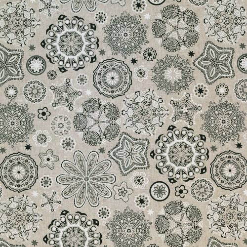 Toile polycoton aspect lin imprimé mandala