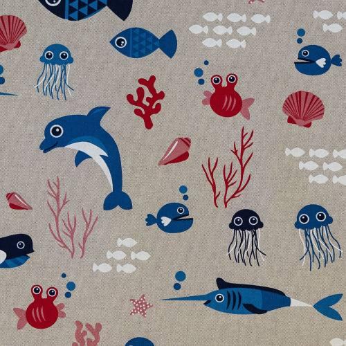 Toile polycoton aspect lin imprimé animaux de la mer
