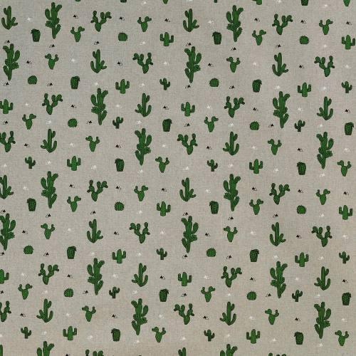 Toile polycoton aspect lin imprimé cactus