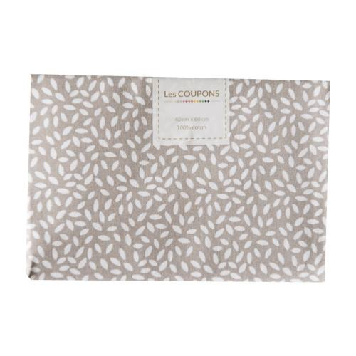 Coupon 40x60 cm coton taupe grains de riz