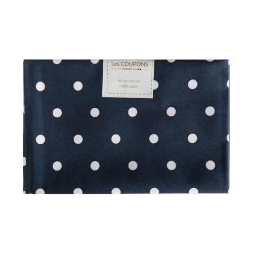 Coupon 40x60 cm coton bleu marine gros pois