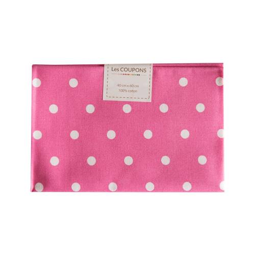 Coupon 40x60 cm coton rose gros pois