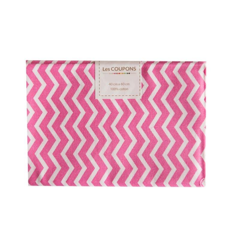 coupon 40x60 cm coton rose chevron pas cher tissus price. Black Bedroom Furniture Sets. Home Design Ideas