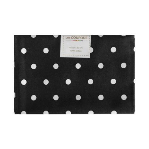 Coupon 40x60 cm coton noir gros pois