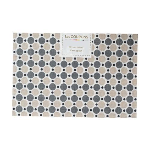 Coupon 40x60 cm coton imprimé pois noirs et gris