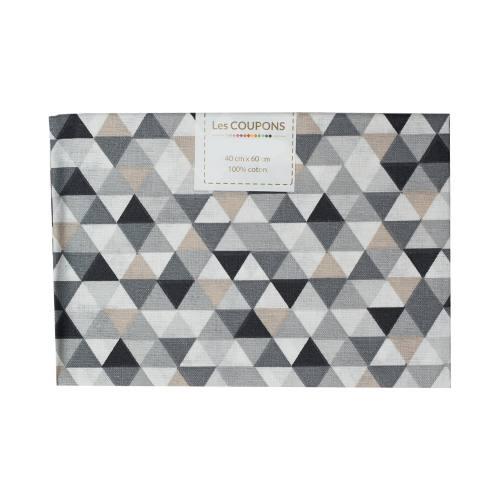 Coupon 40x60 cm coton trimix noir et gris