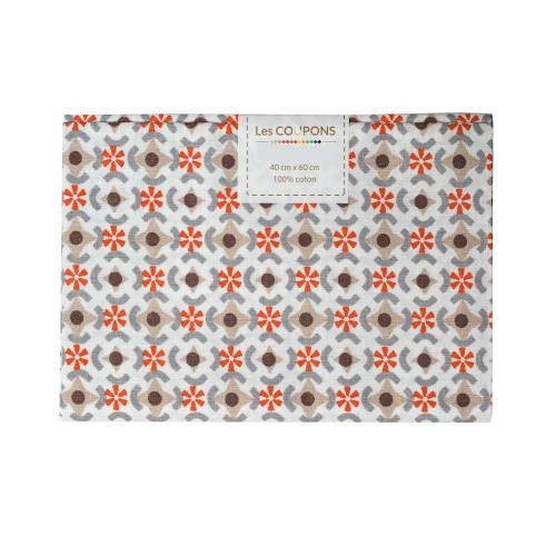 Coupon 40x60 cm coton againeg taupe et orange