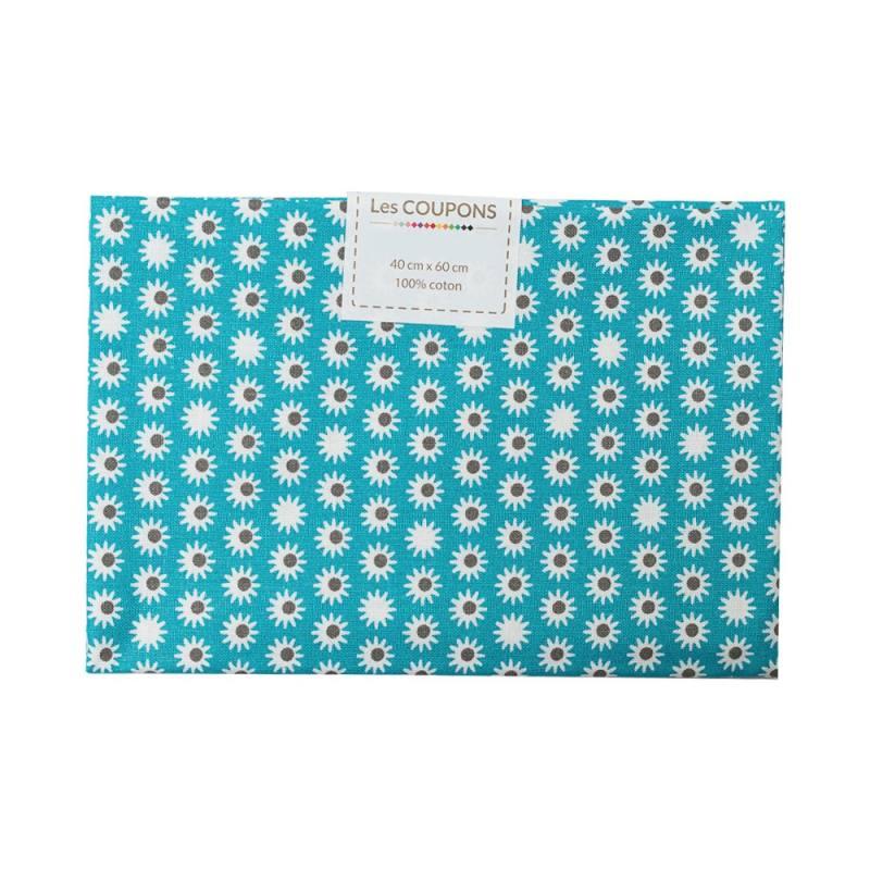 coupon 40x60 cm coton pik bleu p trole pas cher tissus price. Black Bedroom Furniture Sets. Home Design Ideas