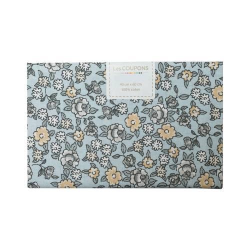 Coupon 40x60 cm coton fleurs sarina grises