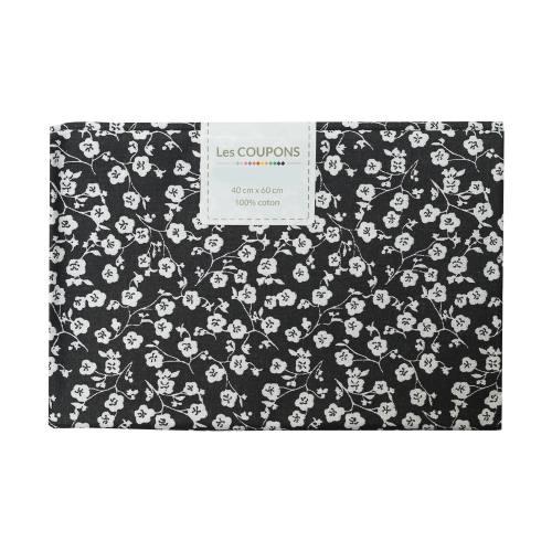 Coupon 40x60 cm coton imelda noir