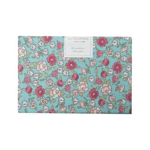 Coupon 40x60 cm coton fleurs sarina vert d'eau