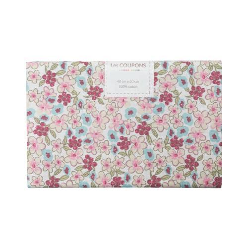 Coupon 40x60 cm coton fleurs lilas vertes et roses