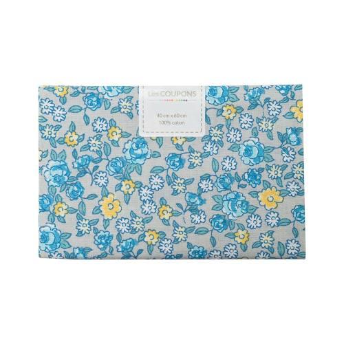 Coupon 40x60 cm coton fleurs sarina bleues