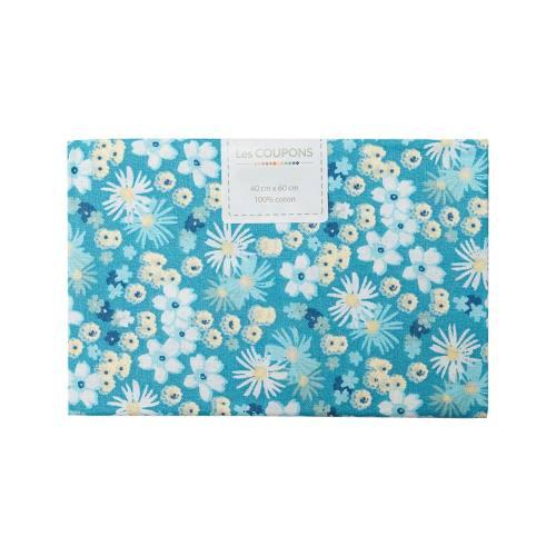 Coupon 40x60 cm coton fleurs zinia bleues et jaunes