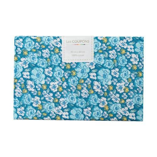 Coupon 40x60 cm coton fleurs kalmia bleues et jaunes